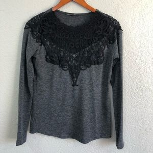 Zara Black Lace Grey Sweater